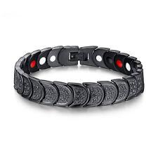 Fashion Men's Black Magnetic Health Therapy Care Energy Titanium Steel Bracelet