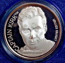 1991  Star Trek 25th Anniversary KIRK  1 Ounce .999 Silver Coin-Boxed (M5889)