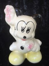 Vintage Rare Walt Disney Mickey Mouse Coin Bank 7 Inch Disneyana Ceramic Painted