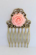 PINK ROSE HAIR COMB Shabby Chic Flower Floral Accessory Vintage Brass Filigree
