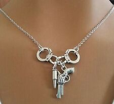 Hand Cuff Handcuff Revolver,Pistol, Gun & Bullet Pendants, Necklace Chain, Cool