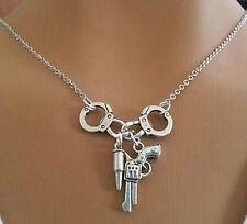 Hand Cuff Menottes revolver, pistolet, revolver & Balle pendentifs, collier chaîne, Cool