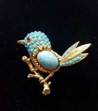 VINTAGE GORGEOUS GLASS RHINESTONE BOUCHER BIRD BROOCH PIN