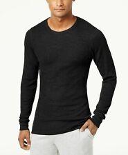 Alfani Men's Black Thermal Waffle Texture Long Sleeve Knit Shirt LARGE