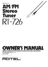 Rotel RT-726 Tuner Owners Instruction Manual