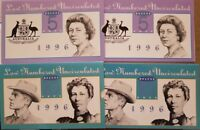 1996 Australian First Prefix1x $5+$10 Notes AA 96 003562 NPA FOLDERS Same Number