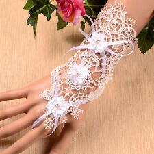 Boxed 2pc Bridal Wedding Prom Short White Lace Cuff Bracelet Fingerless Gloves