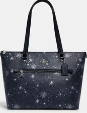 Coach Gallery Tote Nightsky Signature Canvas With Snowflake Print C1772