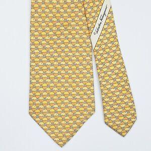 SALVATORE FERRAGAMO TIE Turtle on Yellow Classic Silk Necktie