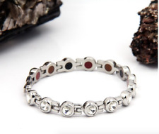 Authentic Pur life Negative Ion Bracelet ELEGANT SWAROVSKI STAINLESS CLEAR WOW!!
