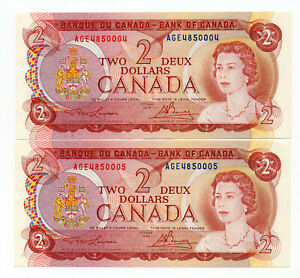 Bank of Canada 1974 $2 Two Dollars AGE Prefix Lot of 2 Consecutive Notes UNC