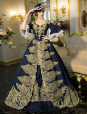 Gold Applique Victorian Prom Vintage Navy Blue Medieva Evenning Party Ball Gowns