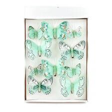 """10 Stück Schmetterlinge MIX mit Clip 2 Größen Sortiment """"MINT"""" Feder"""