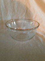 Vintage Clear  Frosted Glass Bowl with Gold Rim  Grape Leaves Vines Pattern