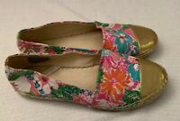 LILLY PULITZER for Target Nosie Posey Espadrilles Shoes Womens 7 Floral Gold Toe
