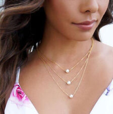 Women Jewelry Layers Pendant Statement Charm Gold Chain Choker Pearl Necklace