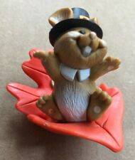 Hallmark Merry Miniature Thanksgiving Pilgrim Mouse on a Leaf - 1982