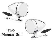 Universal Chrome Bullet Style Hotrod Side Mirror Set -- Both Driver & Passenger