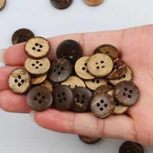 15mm 100pcs 4 Hole Round Coconut Button Sewing Scrap Clothing Crafts DIY Gift