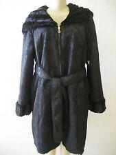 IMAN BLACK & BLACK BROCADE REVERSIBLE FAUX FUR HOODED COAT SIZE XL - NWT
