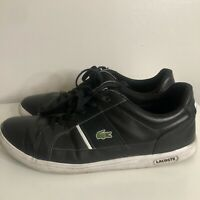 Men's Lacoste Europa Black Leather Sneaker Shoes Size 11.5