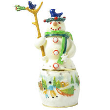 Green Snowman Figurine Trinket Box Enameled With Swarovski Crystals
