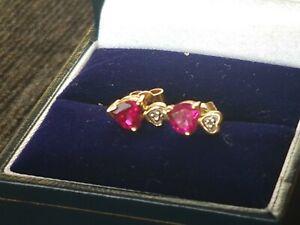 9ct gold , ruby & diamond stud Heart earrings.... NOT SCRAP