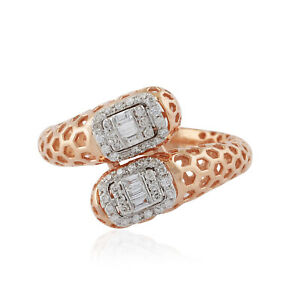 Certified Natural 0.30 Ct. Baguette Diamond Hexagon Cage Ring 18k Rose Gold