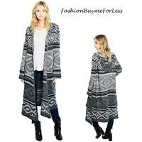 Haute BOHO Gray Knit Hippie Long Drape Open Hooded Sweater Cardigan Coat S M L