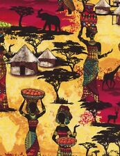 Kenta African Women and Animals Village Sunset 100% Cotton fabric by the yard
