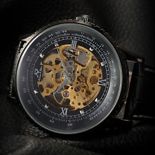 Kronen & Söhne Golden Skeleton Black Leather Band Men's Automatic Wrist Watch