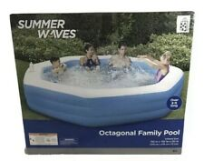 Summer Waves 10' Octagonal Inflatable Family Pool Backyard Kids Drink Holder NEW