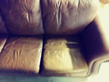 BestMassage Sectional 3 Seat Faux Leather Sofa Couch - Brown