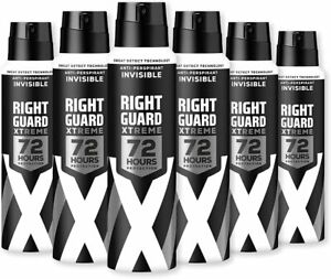 Right Guard Mens Deodorant, Xtreme Invisible 72H High-Performance Spray, 6 x 150