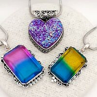 3 X Silver Plated Vintage Style Pendants - Bi-Colour Blue Yellow & Purple Druzy