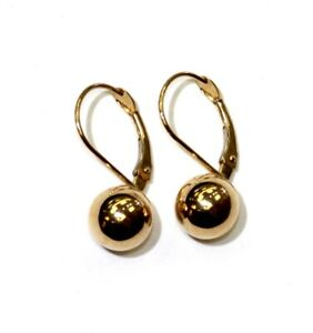 10k yellow gold 8mm ball leverback earrings ladies unique rare