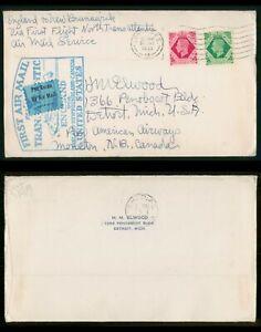 Mayfairstamps Great Britain 1939 London to Shediac Newfoundland First Flight Pan