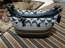 Coach Signature Stripes Canvas and Leather Small Hobo Handbag Cosmetic Bag Purse