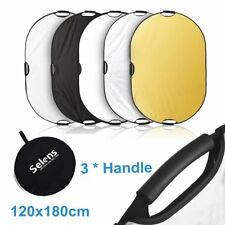 120x180cm 5-in-1 Oval Collapsible Photography Light Reflector Diffuser w/ Handle