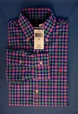 New Men's Polo Ralph Lauren SM Long Sleeve Cotton Blue Checkered 33'' LS Small