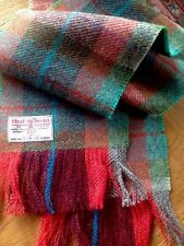 Luxury Harris Tweed Pure Wool Scarf Red Burgundy Grey Teal Green Check Punk New