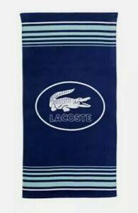 "Lacoste Ocean 100% Cotton Beach Towel, 36"" W x 72"" L Striped Blue Rare New"
