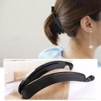 NEW Large Black Long Banana Clip Fish Clip Grips Ladies Hair Accessory