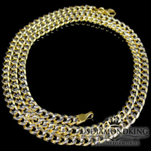 4.5mm Genuine Real 100% 10kt Gold Paved 2 Tone Cuban Curb Link Chain Necklace