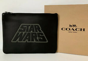 NWT STAR WARS X Coach Large Pouch With Motif F88366 Black Leather RP $298