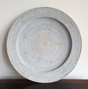 SALE, Tray, hanging, rattan with motif,  blue washed, 1m diam, decorative decor