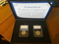 Brexit Official 2 Coin 50p Set 1973 EEC Entry and 2020 Withdrawal From EU Two