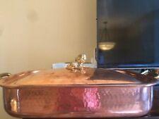 RUFFONI Historia Hammer Copper Rectangular Roasting Pan w Artichoke Finial - NEW