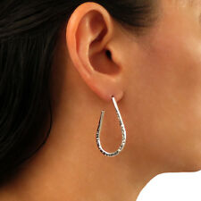 Hoops 925 Solid Hammered Sterling Silver Drop Earrings