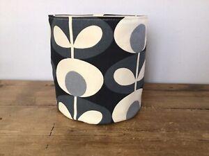 Handmade Storage Tub Basket Orla Kiely Grey Oval Flower Fabric